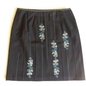 Black skirt with embroidery detail